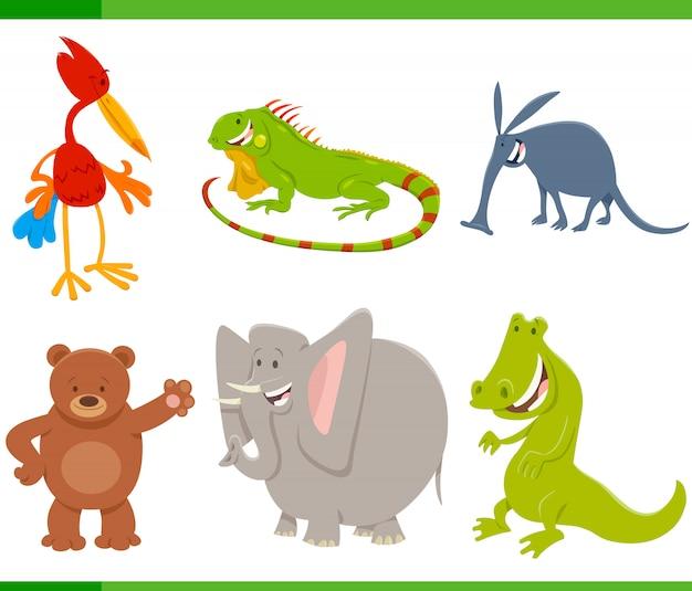 야생 동물 캐릭터 세트의 만화 그림