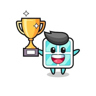 Карикатура иллюстрации окна счастлива, держа золотой трофей, милый стиль дизайна для футболки, наклейки, элемента логотипа