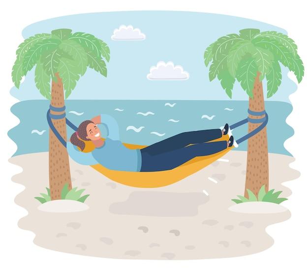 ビーチの海のハンモックの女性の漫画イラスト