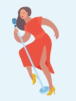 女性歌手の赤いドレスの漫画イラスト。