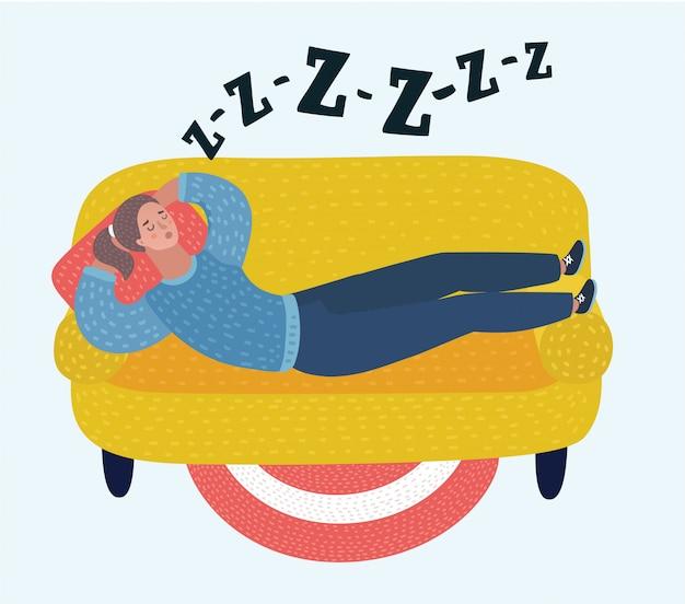 部屋のソファーで女性の睡眠の漫画イラスト。夢見る少女。いびき、睡眠中のいびき。孤立した白地の女性キャラクター。
