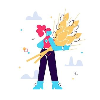 小麦の黄金の束を持つ女性の漫画イラスト