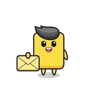 노란색 문자를 들고 노란색 카드의 만화 그림, 티셔츠, 스티커, 로고 요소에 대한 귀여운 스타일 디자인