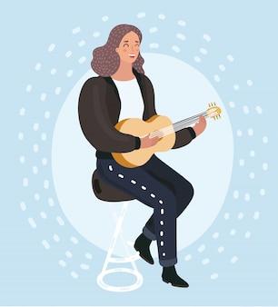ギターを弾く若い美しい女性の漫画イラストと歌います。