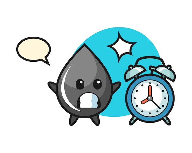 Cartoon illustration of oil drop is surprised with a giant alarm clock