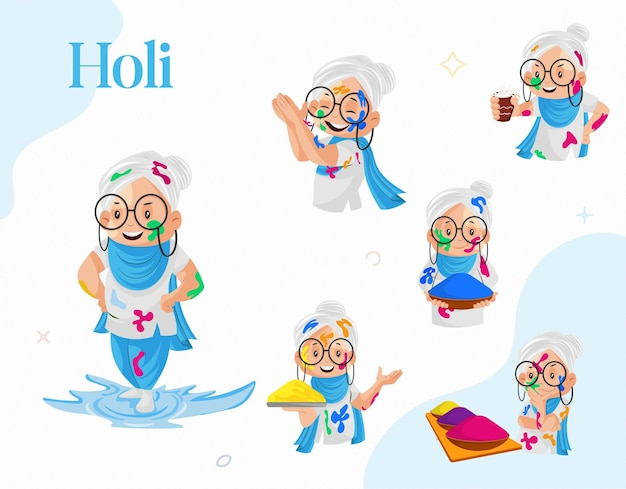 Cartoon illustration of old lady playing holi character set