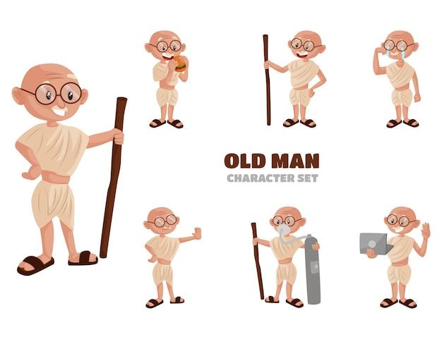 Cartoon illustration of old man character set