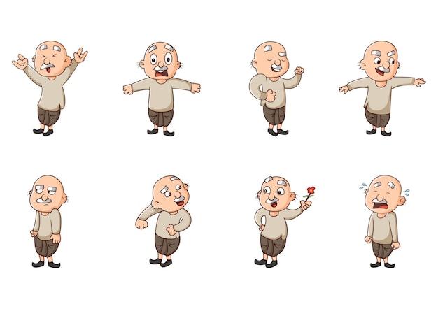 Cartoon illustration of old man sticker set