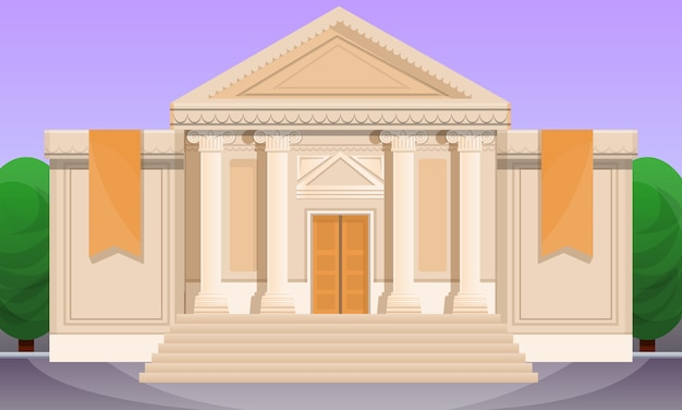 Cartoon illustration of old museum