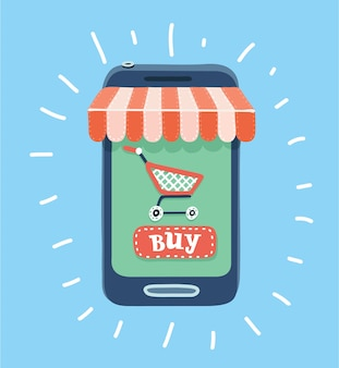 Cartoon illustration of online store concept on smartphone with striped awning shopping cart and buy button.