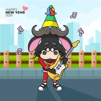 Cartoon illustration of an ox wearing a party hat playing guitar and happy new year