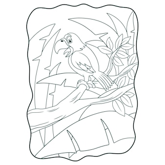 Cartoon illustration a parrot chirping on a tree trunk book or page for kids black and white