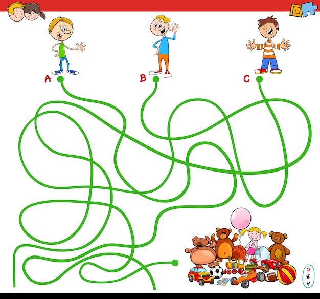 Cartoon illustration of paths or maze puzzle activity game with kid boys and toys
