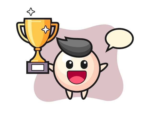 Cartoon illustration of pearl is happy holding up the golden trophy