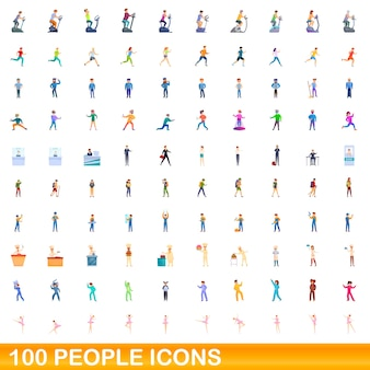 Cartoon illustration of people icons set isolated on white