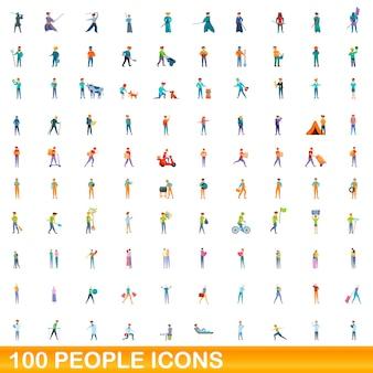 Cartoon illustration of people icons set isolated on white