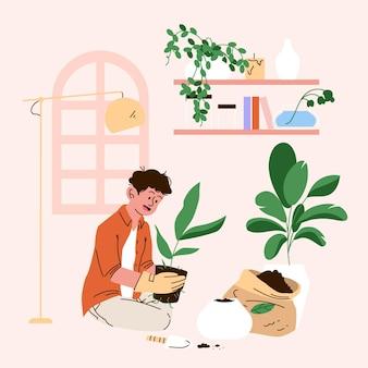 Cartoon illustration of people taking care of plants