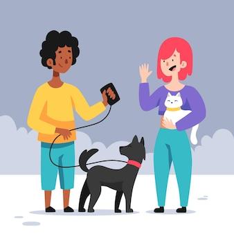 Illustrazione del fumetto di persone con animali domestici