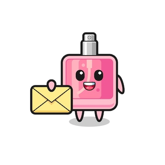 Cartoon illustration of perfume holding a yellow letter , cute style design for t shirt, sticker, logo element
