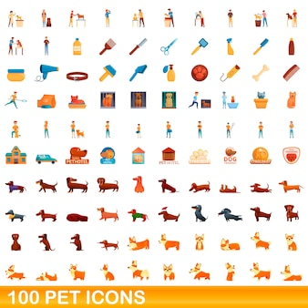 Cartoon illustration of pet icons set isolated on white