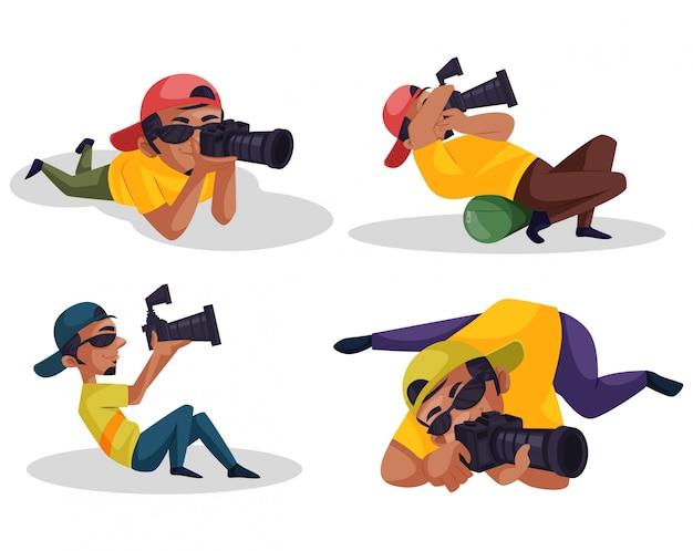 Cartoon illustration of photographer character set