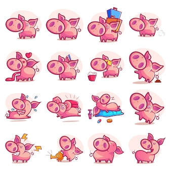 Cartoon illustration of pig set