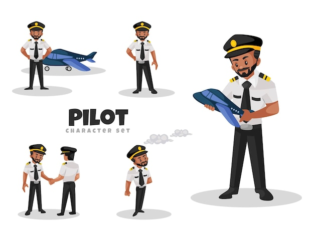 Cartoon illustration of pilot character set