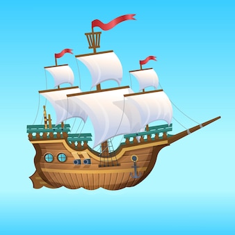 Иллюстрации шаржа. пиратский корабль, парусник.