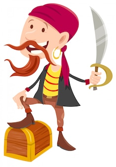 Cartoon illustration of pirate with treasure chest