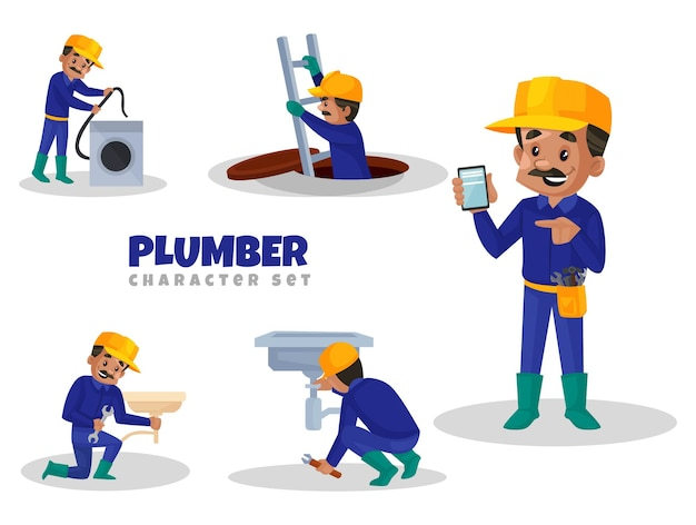 Cartoon illustration of plumber character set