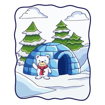 Cartoon illustration polar bear standing in front of his house