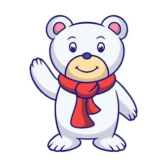 Карикатура иллюстрации белый медведь машет рукой