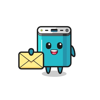 Cartoon illustration of power bank holding a yellow letter , cute style design for t shirt, sticker, logo element