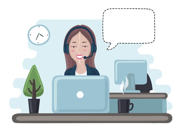 Cartoon illustration of pretty girl manage consultant in call center