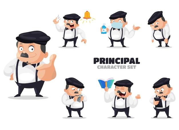 Cartoon illustration of the principal character set