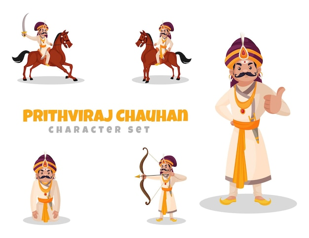 Cartoon illustration of prithviraj chauhan character set