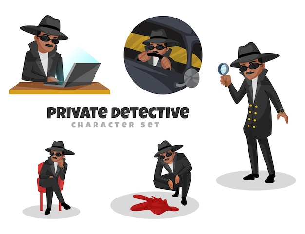 Cartoon illustration of private detective character set
