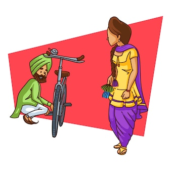 Cartoon illustration of punjabi couple