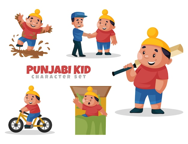 Cartoon illustration of punjabi kid character set