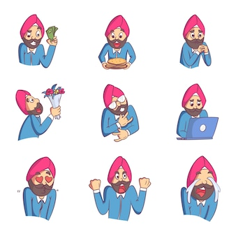 Cartoon illustration of punjabi man set