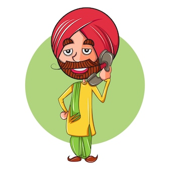 Cartoon illustration of punjabi man talking on phone.