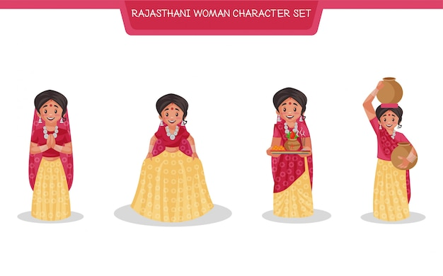 Cartoon illustration of rajasthani woman character set