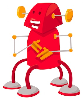 Cartoon illustration of red robot fantasy character