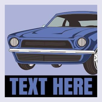 Cartoon  illustration retro, vintage, classic car