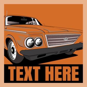 Cartoon  illustration retro,vintage,classic car