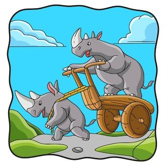 만화 그림 코뿔소 놀이 카트