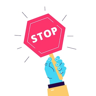 Cartoon illustration of road sign stop hold in hand. object on white