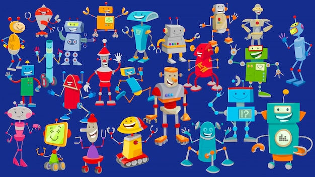 Cartoon illustration of robot characters background