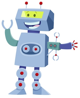 Cartoon illustration of robot fantasy character