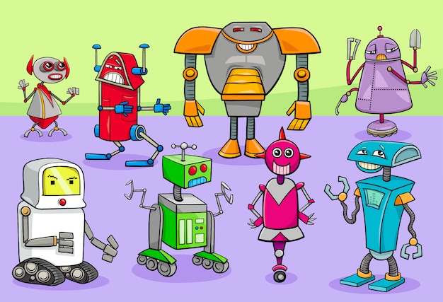 Cartoon illustration of robots characters group